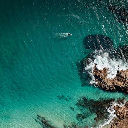 The Salmon and the Fisherman_sRGB - Cape Naturaliste from the air. A Fisherman heads for bunching Salmon. If you use the boat as 12 0'clock there are...
