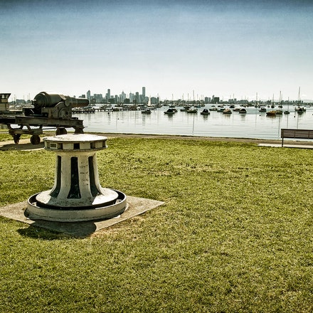 Seat With A View 304a - View of Melbourne City from Williamstown foreshore Hobsons Bay.