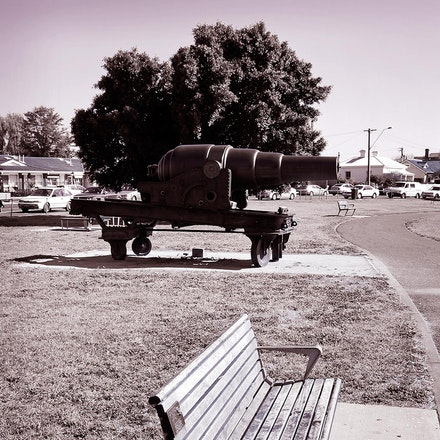 Bench with Cannon - Hobsons Bay Williamstown, Melbourne, Victoria.