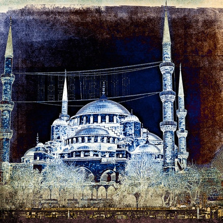 Turkey - Digital art work of The Blue Mosque in Istanbul.