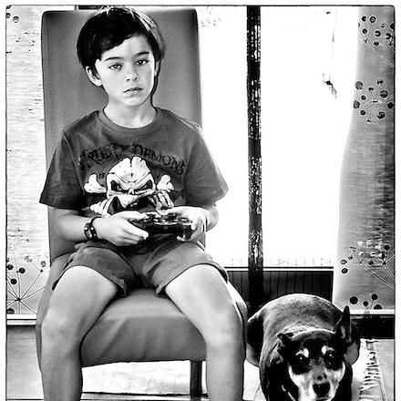 Young Boy and His Dog - OLYMPUS DIGITAL CAMERA