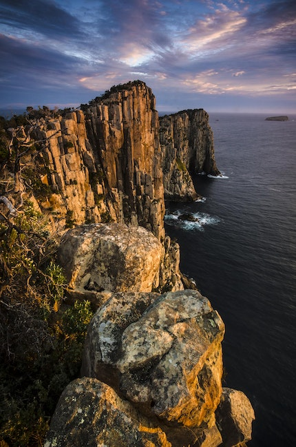 Cape Hauy and The Lanterns - The first rays of sun striking the dolerite cliffs of Cape Hauy, Tasman Peninsula.