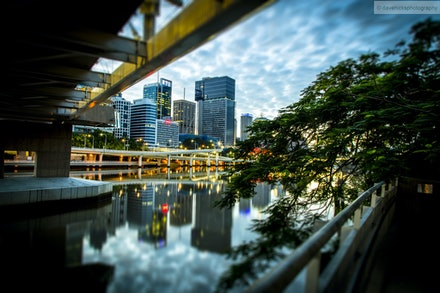 Brisbane City from underneath Kurilpa Bridge-