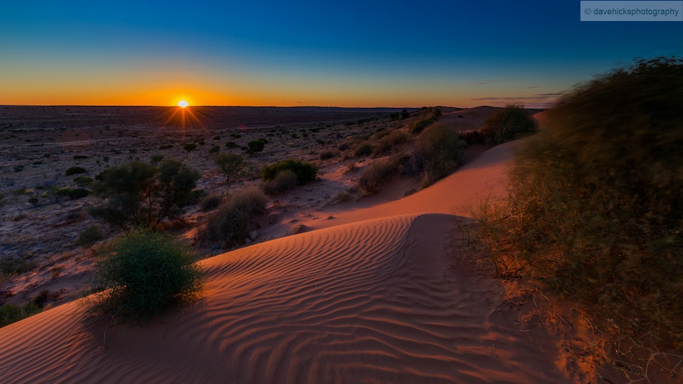 Sunset over the Simpson Desert from 'Big Red' sand dune, QLD