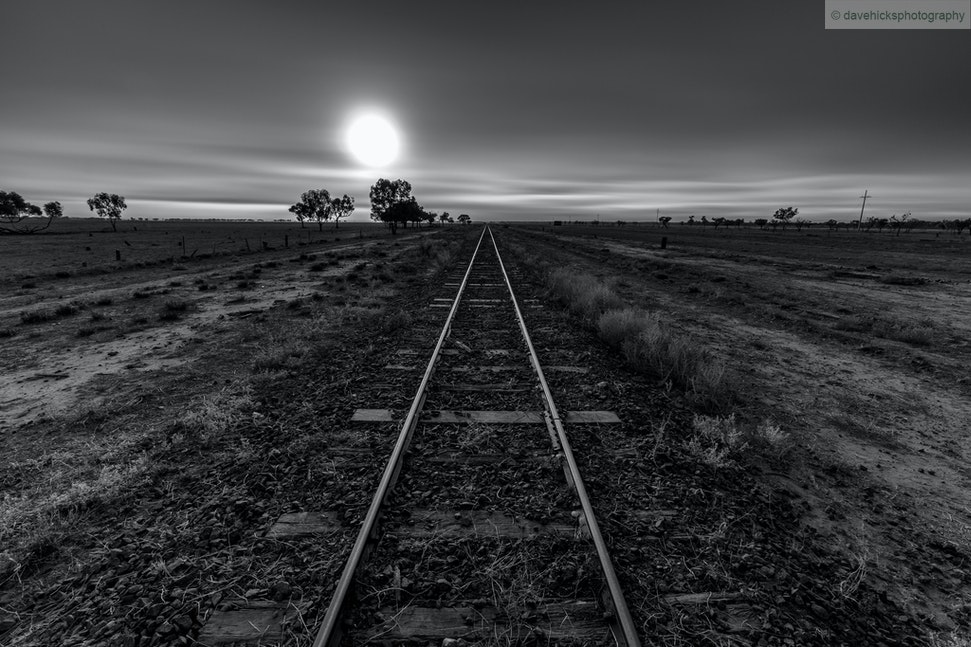 A foggy morning along the Western railway line near Quilpie, QLD (monotone treatment) 03