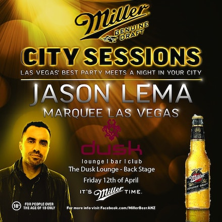 MGD City Sessions pres. Jason Lema (US), Dusk Lounge, 12 April 2013 - Jason Lema is a successful resident DJ and premier hotspots such as TOA, Lavo & now...
