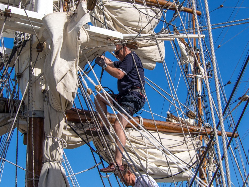 150209 Tasmania AWBF 2015 165234 - Windeward Bound Crew, prepare sails for Day Cruise, AWBF 2015, Hobart, Tasmania, Australia