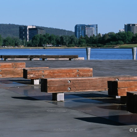 Solid benches by Lake Burleigh Griffin - Canon T90 and Fuji Provia 100 slide film