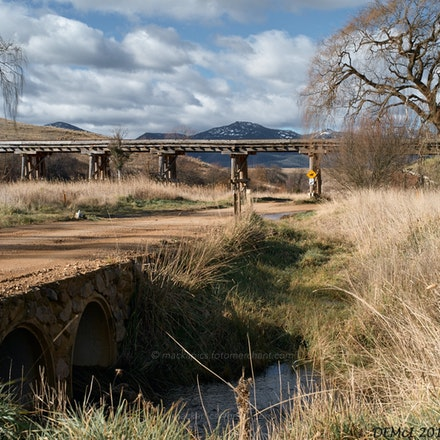 Tinderries and railway bridge - A favourite location of mine is the tourist railway and trestle-bridge crossing Michelago Road, with a great view of the...