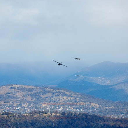 Wirraway, Hudson and Catalina over Canberra - Warbirds of the Historical Aircraft Restoration Society fly over Canberra.