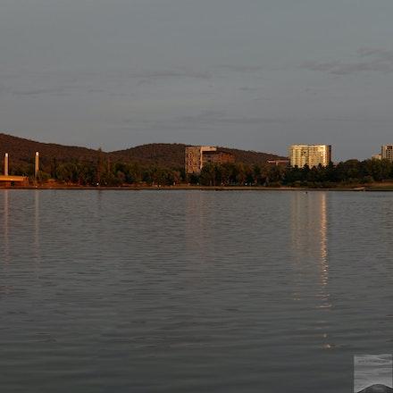 Midsummer dawn at Lake Burleigh Griffin - 2-shot panorama