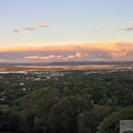 Canberra at dusk from Red Hill - A 3-shot iPhone6S stitch