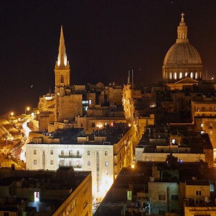 Valletta churches by night - Malta   (File: DMC8431)