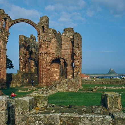 Lindisfarne Priory, Northumberland - Lindisfarne (Holy Island) Priory ruins, Northumberland. Photographed in the 1980s or 1990s.
