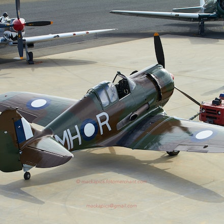 CA-13 Boomerang - CA-13 Boomerang (VH-MHR Military s/n: A46-122).    In the background Spitfire Mk. VIII (VH-HET) and CA-16 Wirraway (VH-BFF).