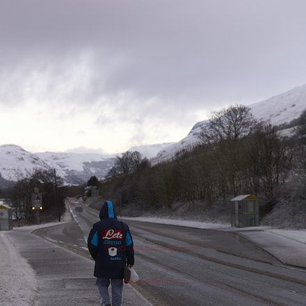 A long way from Napoli! - A young man headed to work, Cairndow, Argyll