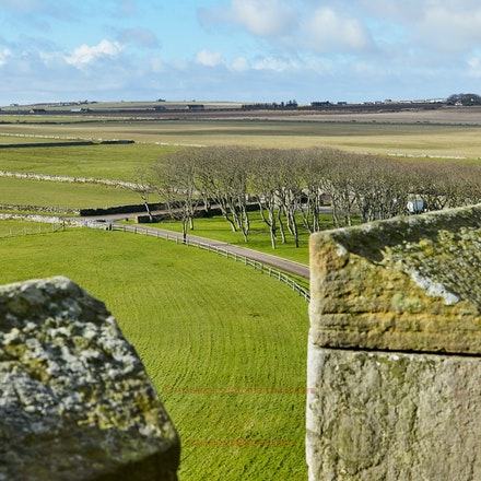The view south from Ackergill Tower - Ackergill Tower is a 15th Cent. castle near Wick in Caithness, NE Scotland.