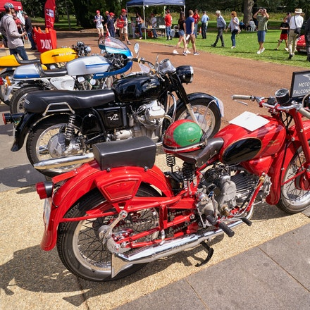 Classic bike line-up - Moto Guzzi 500cc Falcone Sport, 1967 Moto Guzzi 700cc V7, Ducati 900cc Super Sport, Ducati 750cc Super Sport