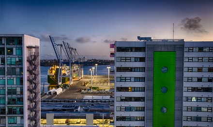Auckland Docks by Morning Light - My morning view at the start of my trip. Auckland docks. Here we go! :)