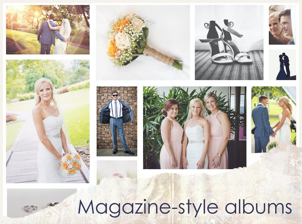 Magazine-style wedding albums PSD