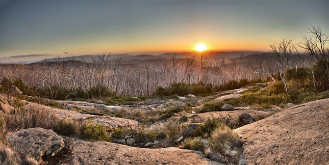 Lake mountain sunset pano March 2014 - 3 image stitch on a beautiful March evening at Lake Mountain summit. Available from the artist 64x32 in 84x60 frame...