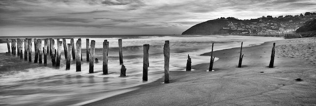 St-Clair-Beach-pano - Old Jetty on the surf beach at St Clair, New Zealand. Spent a pleasant night at the hotel on the foreshore. Bronze at the 2013 Epson...
