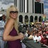 Paris Hilton - Paris Hilton made a promotional appearence at the Atlantic City Hilton she played Black Jack Poker on a special stage set up on the beach...
