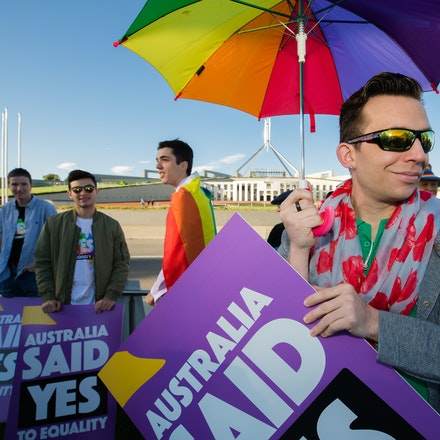 Marriage Equality: Volunteers and Ambassadors - Rally on the lawns of Parliament House on the morning of the final vote.