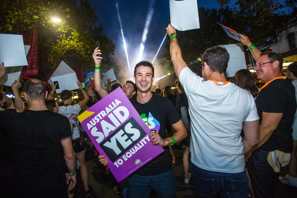 18104-MarriageEquality-MardiGras18-53 - The Marriage Equality group particpate in the first Sydney Gay and Lesbian Mardi Gras, after Same Sex Marriage...