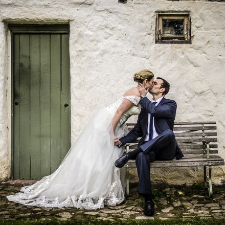 After the wedding - Lindsay and Sam at Montsalvat