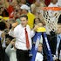 Nothing but net - Louisville head coach Rick Pitino cuts the net after Louisville defeated Michigan, 82-76, in the NCAA Men's Basketball Championship at...