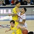Court collision - Spike Albrecht (2) of the Michigan Wolverines collides with Peyton Siva (3) of the Louisville Cardinals in the second half of the NCAA...
