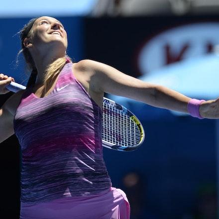 Blakeman_2014_104490 - Agnieszka RADWANSKA (POL) defeats Victoria AZARENKA (BLR) 6-1, 5-7, 6-0 on day 10 at Rod Laver Arena