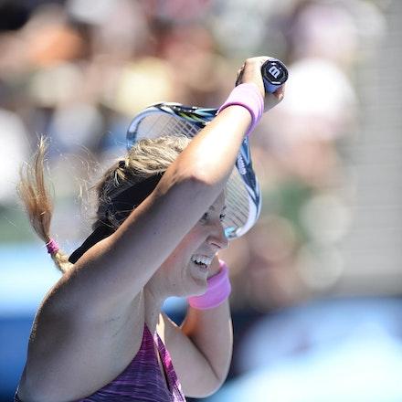 Blakeman_2014_104480 - Agnieszka RADWANSKA (POL) defeats Victoria AZARENKA (BLR) 6-1, 5-7, 6-0 on day 10 at Rod Laver Arena