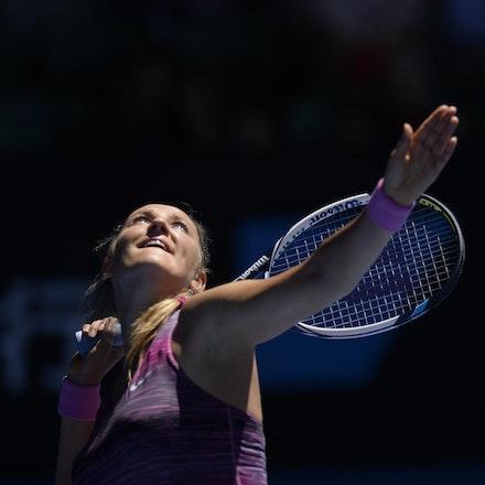 Blakeman_2014_104608 - Agnieszka RADWANSKA (POL) defeats Victoria AZARENKA (BLR) 6-1, 5-7, 6-0 on day 10 at Rod Laver Arena