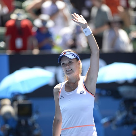 Blakeman_2014_104739 - Agnieszka RADWANSKA (POL) defeats Victoria AZARENKA (BLR) 6-1, 5-7, 6-0 on day 10 at Rod Laver Arena
