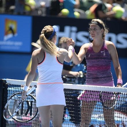 Blakeman_2014_104713 - Agnieszka RADWANSKA (POL) defeats Victoria AZARENKA (BLR) 6-1, 5-7, 6-0 on day 10 at Rod Laver Arena