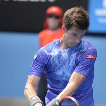 _PB16600 - 2015 20th January. Day 2 of the Australian Open Tennis. World Number 1 Novak Djokovic  (SRB) defeats Aljaz Bedene (SLO) in straight sets 6-3,...