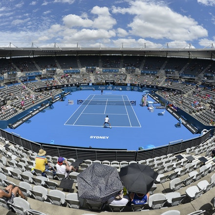 _DSC9444 - 2015 13th January APIA International Sydney Tennis, day 3.  A fisheye view of Ken Rosewall Arena