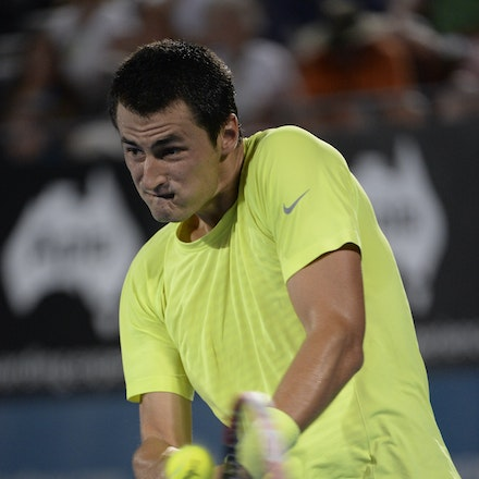 _PB12351 - 2015 15th January APIA International Sydney Tennis, day 5. Australian Bernard TOMIC is defeated by Gilles MULLER (LUX) in straight sets 7-6,...