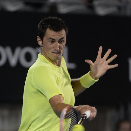 _PB12371 - 2015 15th January APIA International Sydney Tennis, day 5. Australian Bernard TOMIC is defeated by Gilles MULLER (LUX) in straight sets 7-6,...
