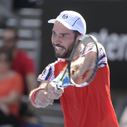 _PB12694 - 2015 16th January APIA International Sydney Tennis, day 6. Mens semi finals Victor Troicki defeats Gilles Muller in straight sets 6-2, 6-4 Troicki...