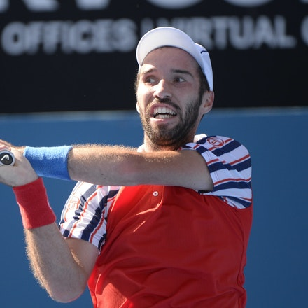 _PB12787 - 2015 16th January APIA International Sydney Tennis, day 6. Mens semi finals Victor Troicki defeats Gilles Muller in straight sets 6-2, 6-4 Troicki...