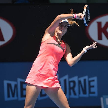 _PB10680 - 2015 23rd January. Day 5 of the Australian Open Tennis. Julie Goerges (GER) defeats Lucie Hradecka (CZE) in straight sets. 7-6 7-5 Goerges in...