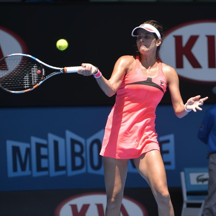 _PB10678 - 2015 23rd January. Day 5 of the Australian Open Tennis. Julie Goerges (GER) defeats Lucie Hradecka (CZE) in straight sets. 7-6 7-5 Goerges in...
