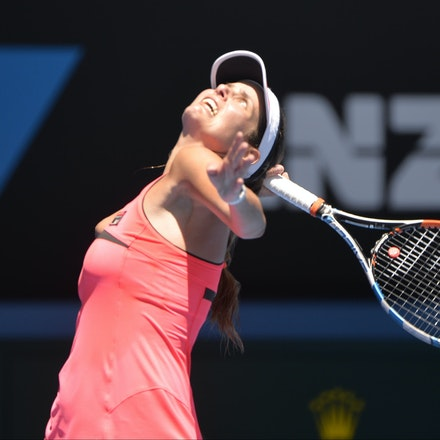 _PB10681 - 2015 23rd January. Day 5 of the Australian Open Tennis. Julie Goerges (GER) defeats Lucie Hradecka (CZE) in straight sets. 7-6 7-5 Goerges in...