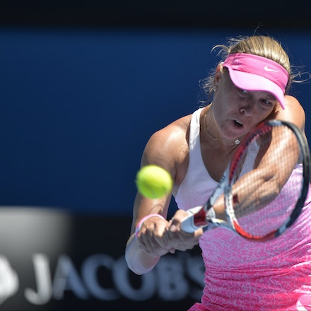 _PB10724 - 2015 23rd January. Day 5 of the Australian Open Tennis. Julie Goerges (GER) defeats Lucie Hradecka (CZE) in straight sets. 7-6 7-5 Hradecka...