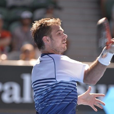 _PB13272 - 2015 24th January. Day 6 of the Australian Open Tennis. Stan Wawrinka (SUI) defeats Jarkko Nieminen in straight sets 6-4 6-2 6-4. Wawrinka in...