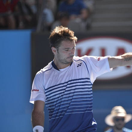 _PB13331 - 2015 24th January. Day 6 of the Australian Open Tennis. Stan Wawrinka (SUI) defeats Jarkko Nieminen in straight sets 6-4 6-2 6-4. Wawrinka in...