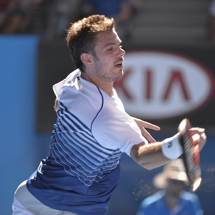 _PB13351 - 2015 24th January. Day 6 of the Australian Open Tennis. Stan Wawrinka (SUI) defeats Jarkko Nieminen in straight sets 6-4 6-2 6-4. Wawrinka in...